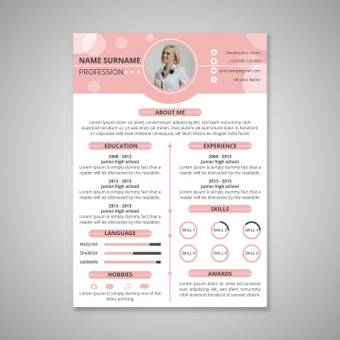 Pink color resume