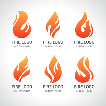 Fire logo set