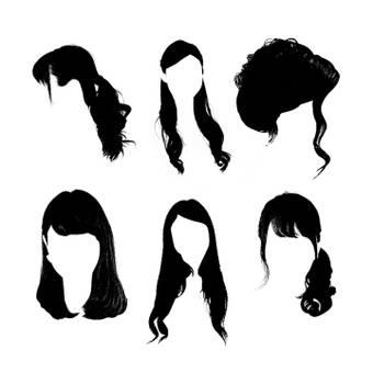 女性髮型畫筆