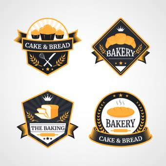 Pan · cake shop logo 4 kinds