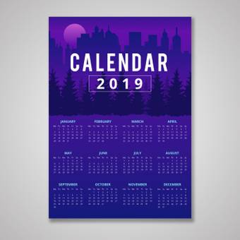 Sunset scenery calendar
