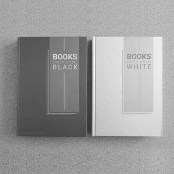 Un libro negro y un libro blanco.