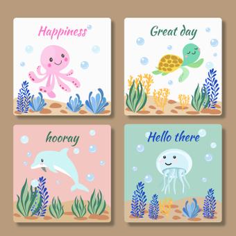 Sea creatures card
