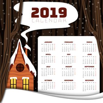 Snow scene calendar