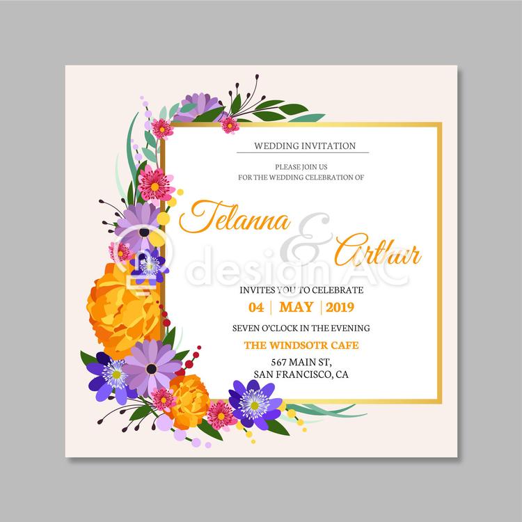 结婚式招待状5月 免费模板 Designac