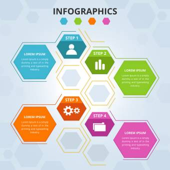 Hexagon Step Infograph